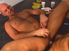 Hairy ass pounded to milk his dick