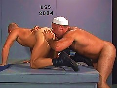 Bear buries his face and cock in his ass