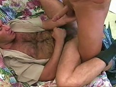 Horny and hairy gay bear officer hardening his and his lovers penis