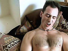 Hot bear Benton Place strokes his hairy chest and plays with his stiff dick