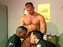 Black cop stuffing his cock deep into white bears tight hole