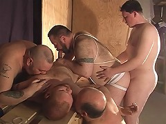 Five bears get together for a gay orgy