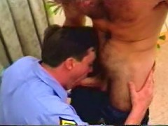 Hot horny gays in uniform blowing hard cock